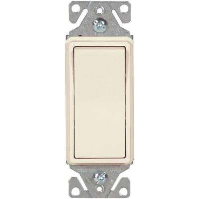 15 Amp 120-Volt/277-Volt Heavy-Duty Grade Single-Pole Decorator Lighted Switch with Back and Push Wire in Light Almond