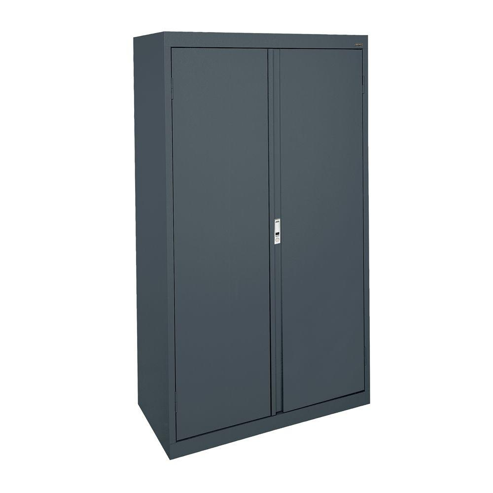Sandusky System Series 30 in. W x 64 in. H x 18 in. D Double Door Storage Cabinet with Adjustable Shelves in Charcoal
