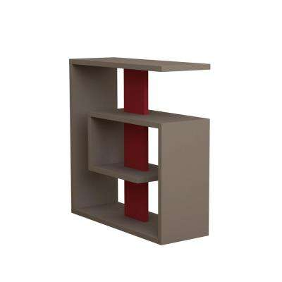 Stacy Light Mocha and Burgundy Modern Side Table