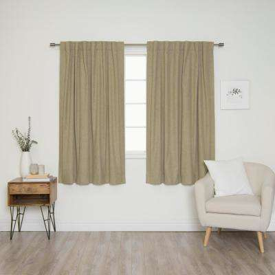 Linen Look 52 in. W x 63 in. L Back Tab Curtains in Brown (2-Pack)