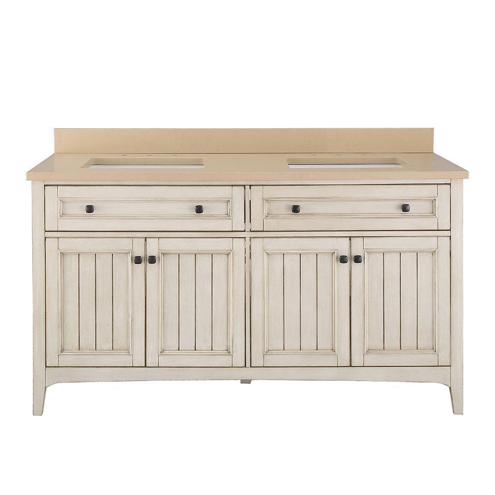 Home Decorators Collection Klein 61 in. W x 22 in. D Double Bath Vanity in Antique White with Quartz Vanity Top in Beige
