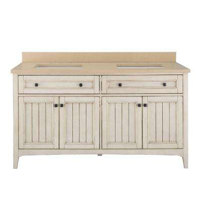 Klein 61 in. W x 22 in. D Double Bath Vanity in Antique White with Quartz Vanity Top in Beige