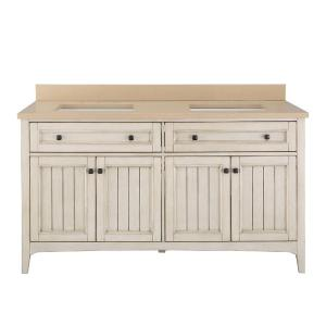 Home Decorators Collection Klein 61 inch W x 22 inch D Double Bath Vanity in Antique White... by Home Decorators Collection