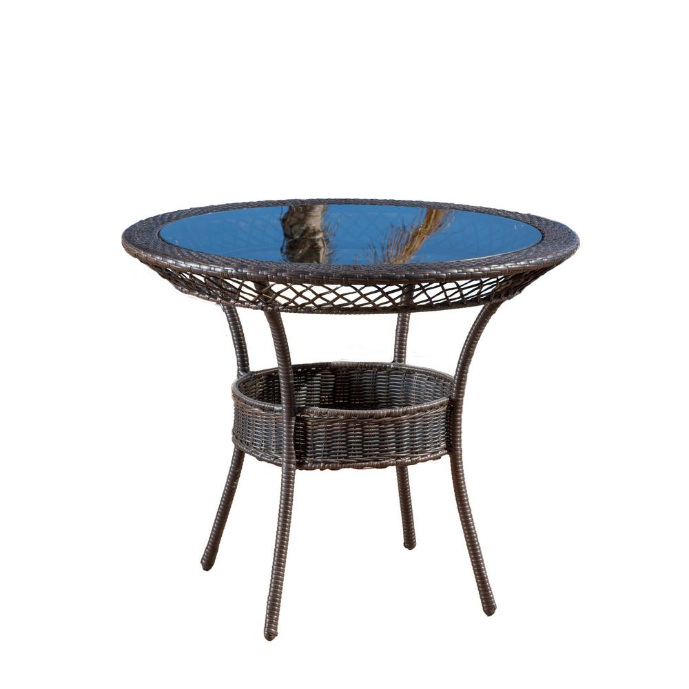 b7b4229d2c Noble House Zayd Multi Brown Circular Wicker Outdoor Bistro Table with Glass  Top
