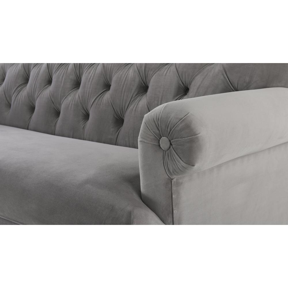 Opal Grey Tufted Rolled Arm Sofa