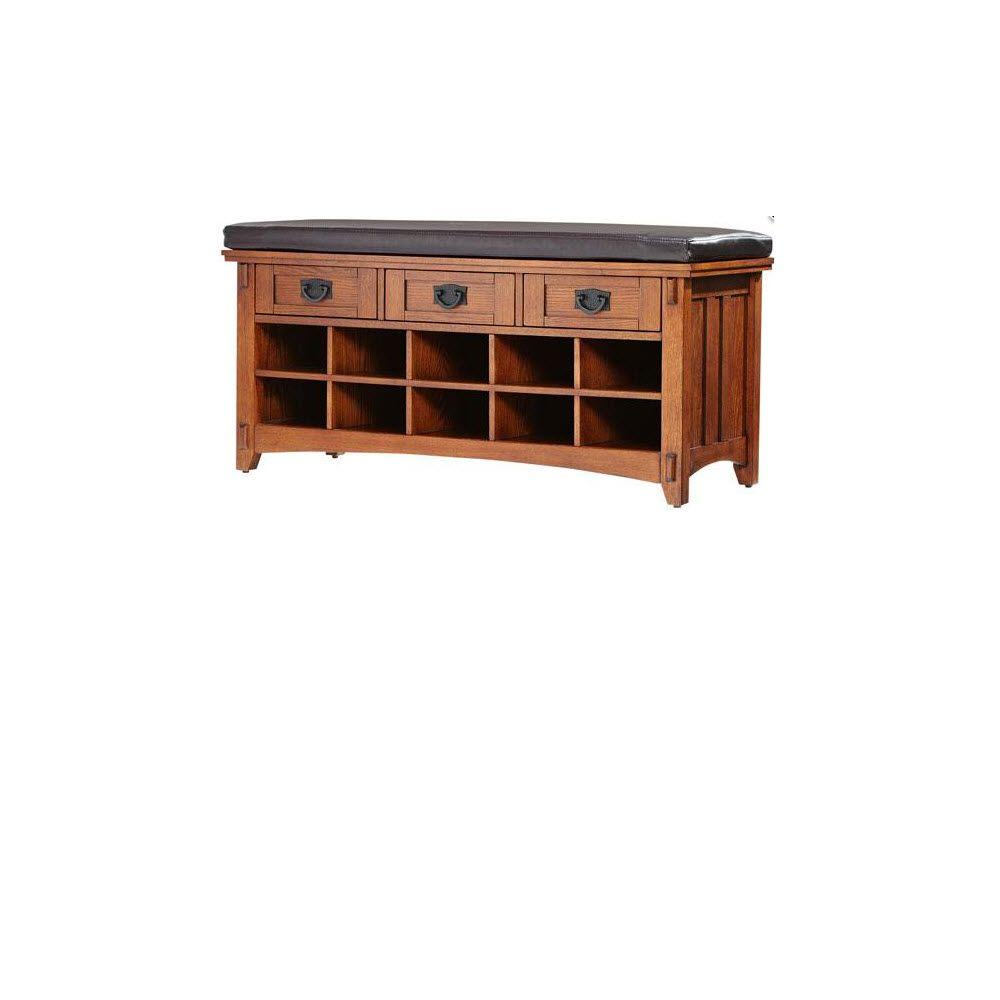 Home Decorators Collection Artisan Light Oak 3-Drawer Bench with Shoe Storage