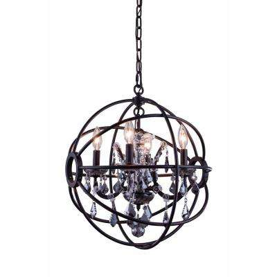 Geneva 4-Light Dark Bronze Chandelier with Silver Shade Grey Crystal