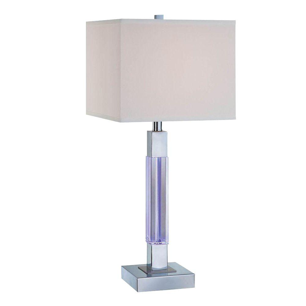 Illumine 27.3 in. Chrome Table Lamp with Accent Lamp