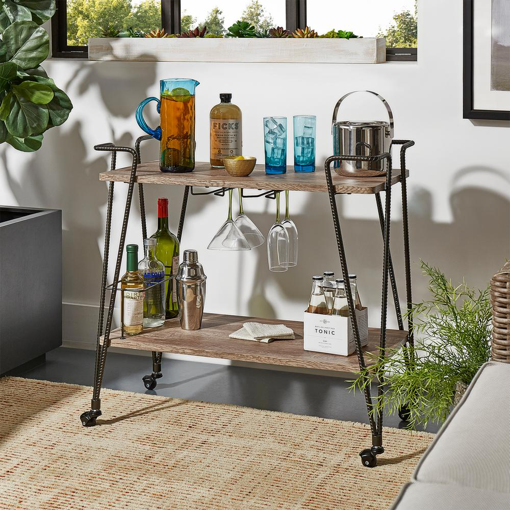 Arnold Dark Bronze Bar Cart with Wine Glass Storage