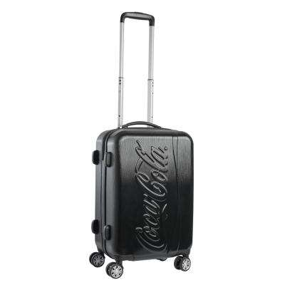 21 in. ABS Plastic, Embossed Logo, Upright, Black Spinner Rolling Luggage Suitcase