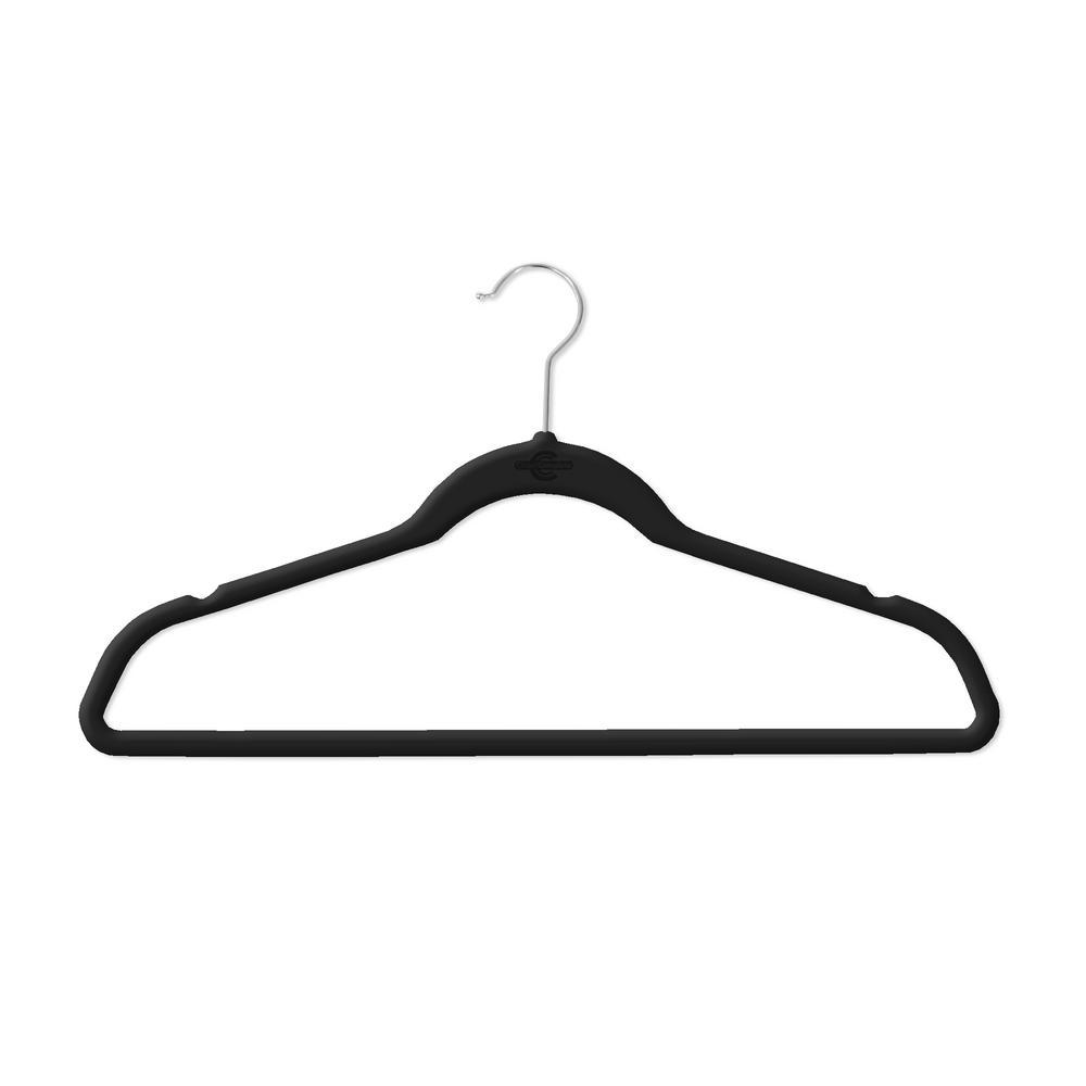 Black Flocked Velvet Suit Hanger (50-Pack)