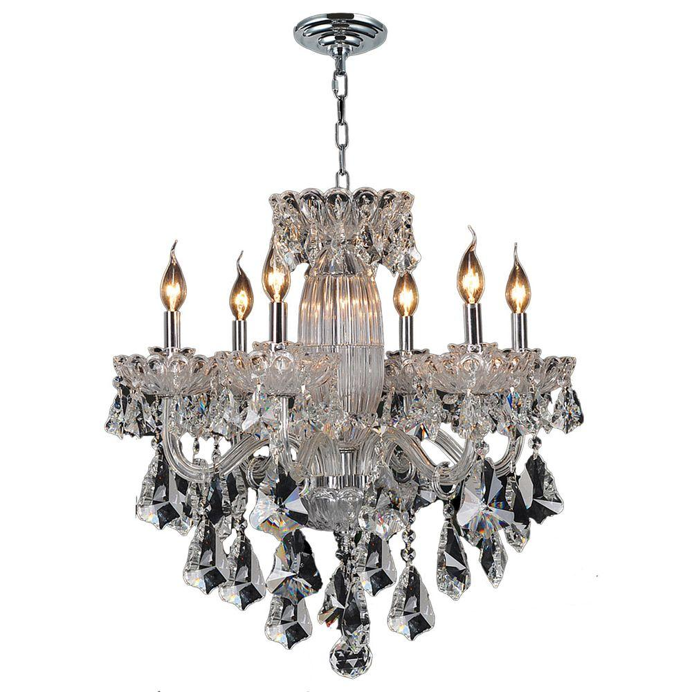 Worldwide Lighting Olde World Collection 6 Light Polished Chrome And Clear Crystal Chandelier