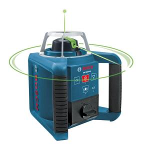 Click here to buy Bosch 1000 ft. Self-Leveling Green Beam Rotating Laser Level Kit (5-Piece) by Bosch.
