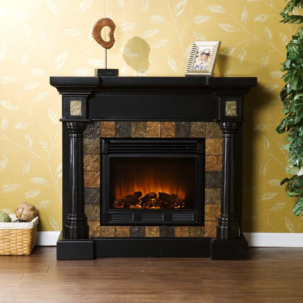 Southern Enterprises Carrington 45 in. Convertible Electric Fireplace in Black with Fauz Slate
