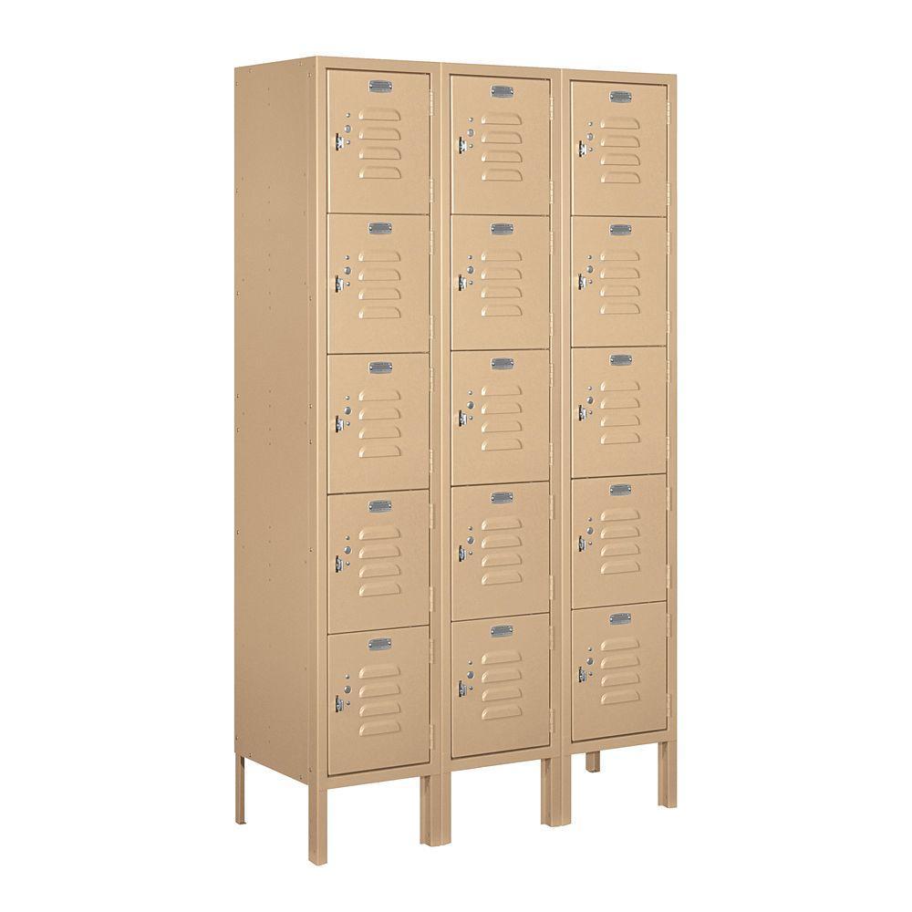 65000 Series 36 in. W x 66 in. H x 12 in. D Five Tier Box Style Metal Locker Unassembled in Tan
