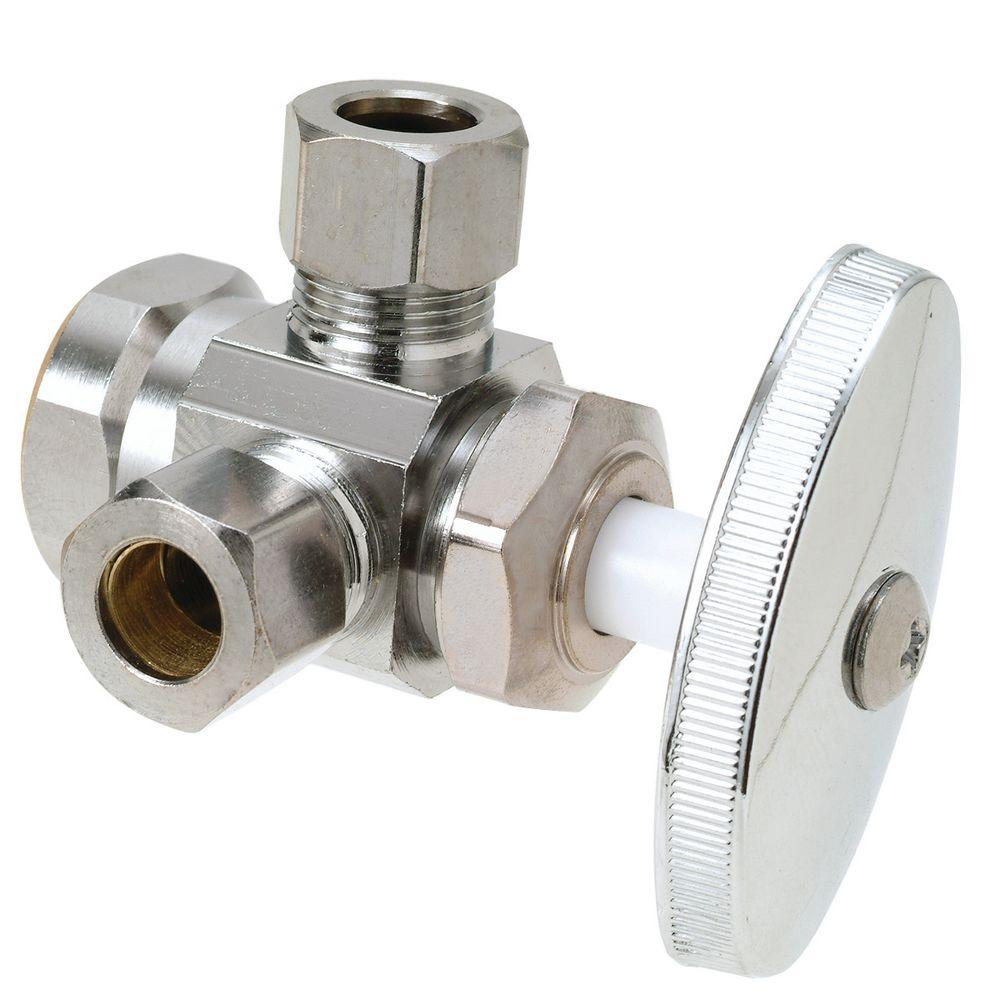 BrassCraft 1/2 in. FIP Inlet x 3/8 in. O.D. Comp x 3/8 in. O.D. Comp Dual Outlet Multi-Turn Valve