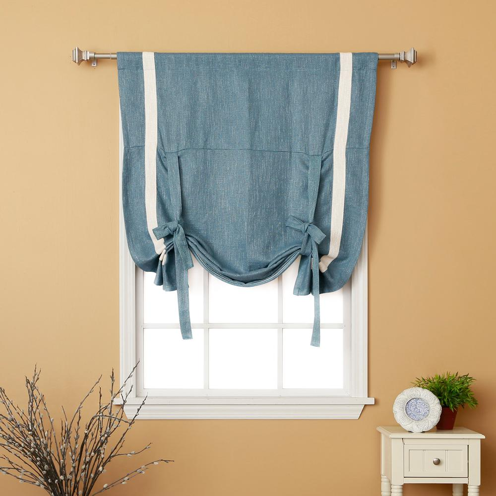 L Aqua Textured Faux Linen Bordered Tie Up Curtain Panel