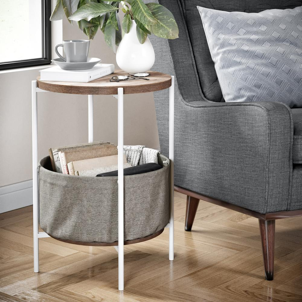 Nathan James Oraa Rustic Oak And White Metal Frame Side Table With Storage Basket 32202 The Home Depot