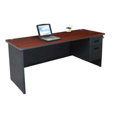 72 in. W x 24 in. D Mahogany Laminate and Dark Neutral  Single Pedestal Credenza