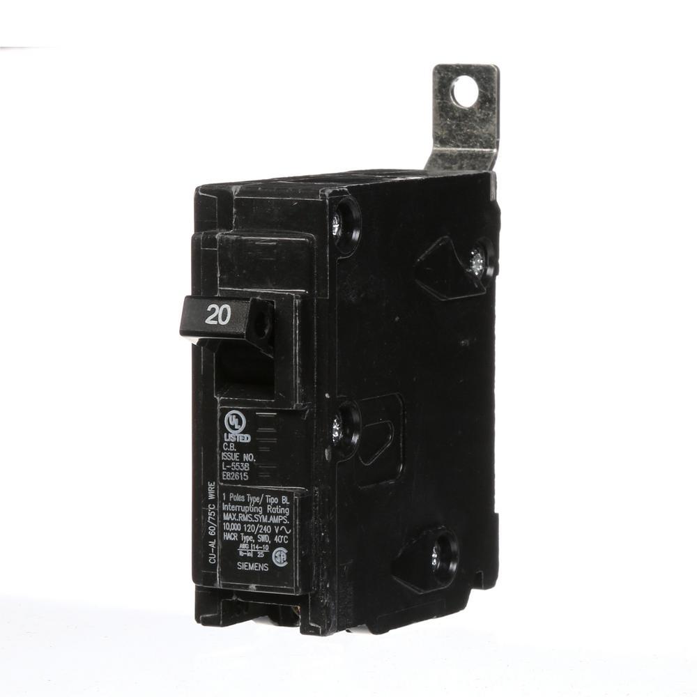 Siemens 20 Amp Single-Pole Type BL Bolt-On Circuit Breaker-B120 ...