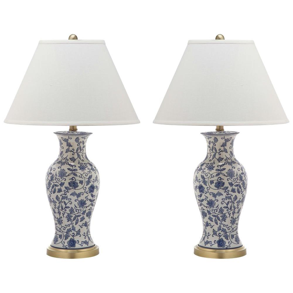 Safavieh Beijing 29 In Blue And White Floral Urn Table