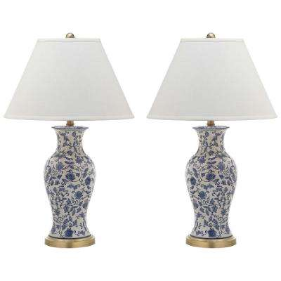 Beijing 29 in. Blue and White Floral Urn Table Lamp