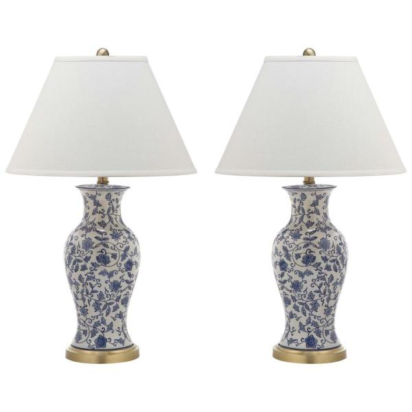 Beijing 29 in. Blue/White Floral Urn Table Lamp with White Shade (Set of 2)