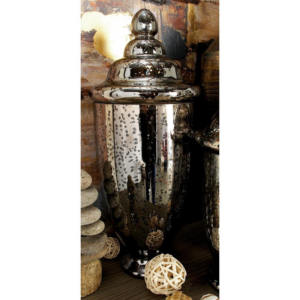Mercury Fluted Glass Urn Decorative Vase