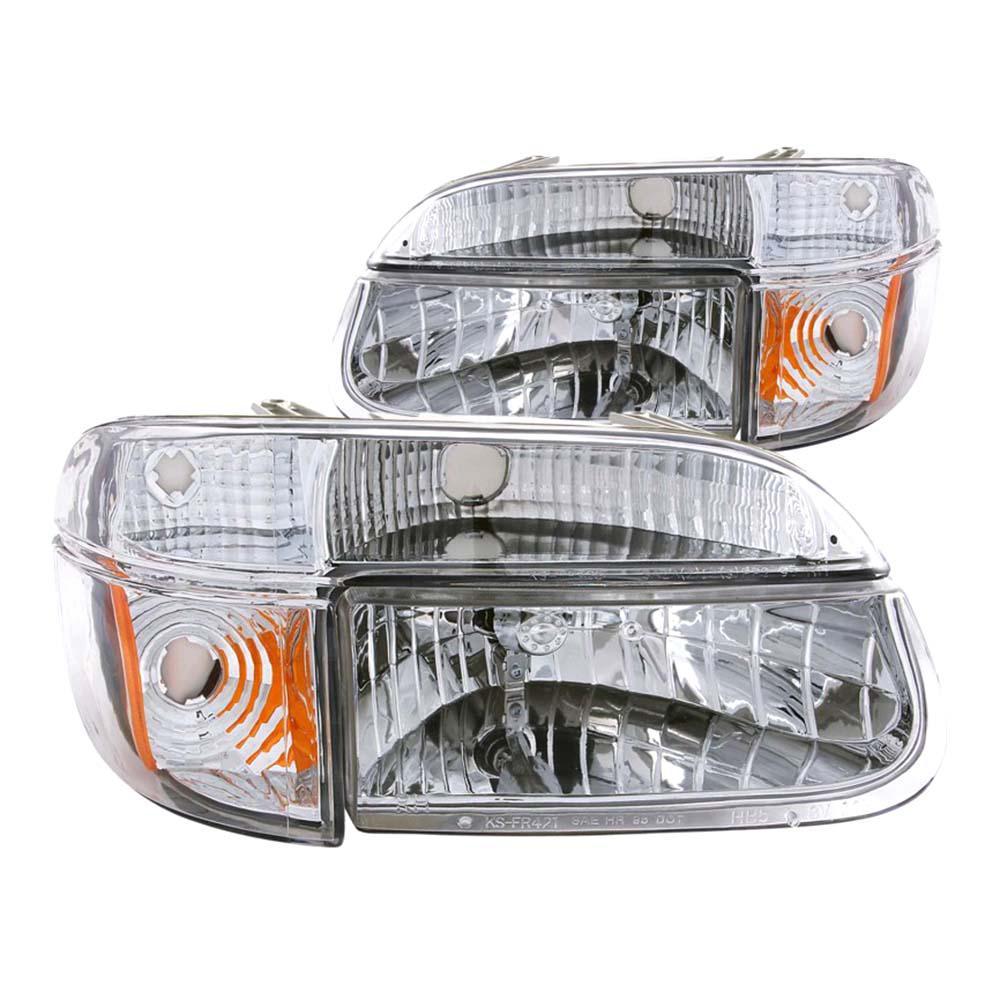 1995-2001 Ford Explorer Crystal Headlights Chrome w/ Corner Lights 2pc