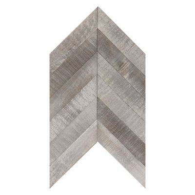 American Vintage 1/4 in. x 12 in. x 1.9 ft. Pine Solid Hardwood Weathered Chevron Wall Plank
