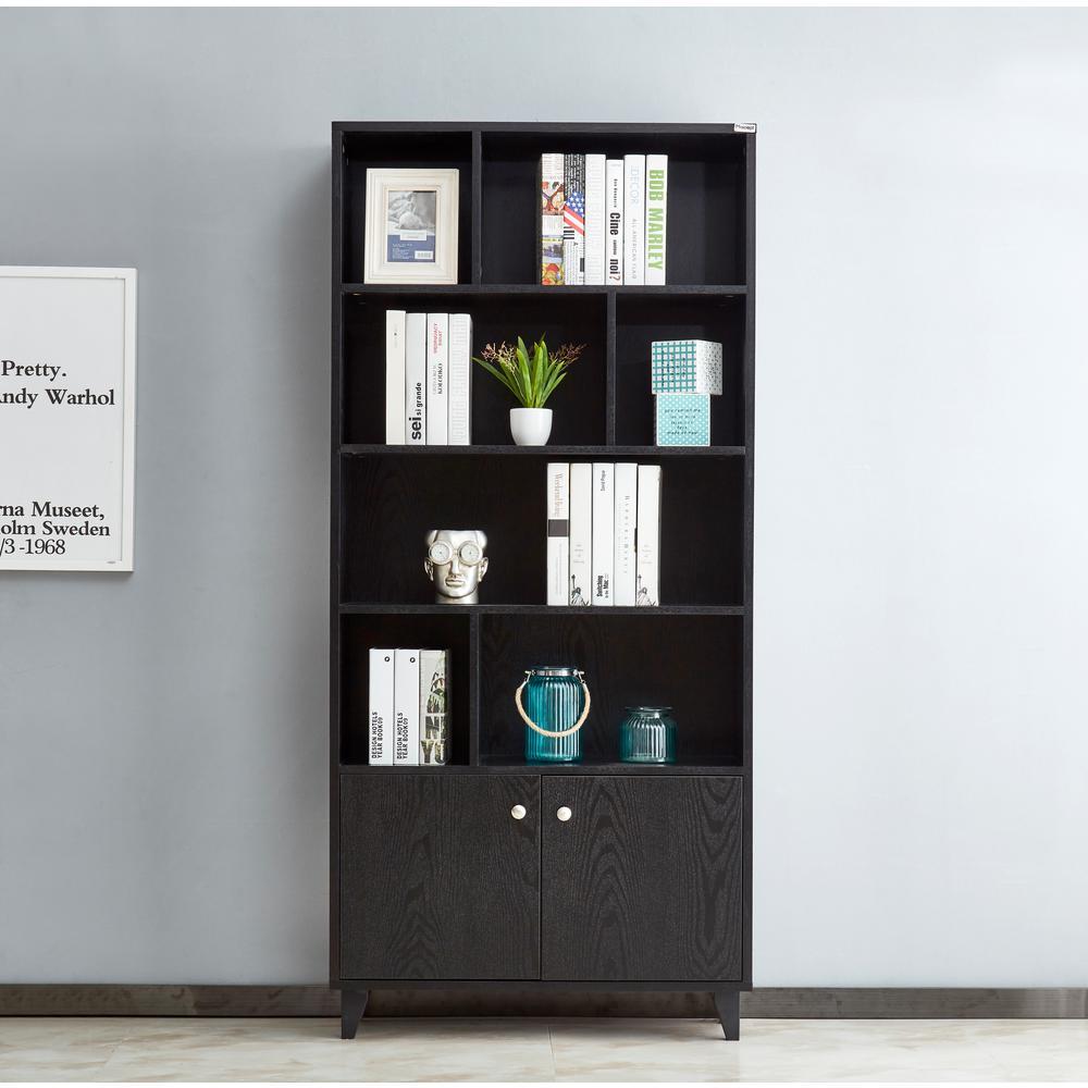 Boyel Living 4-Tier Geometric Bookcase w/ Cabinet