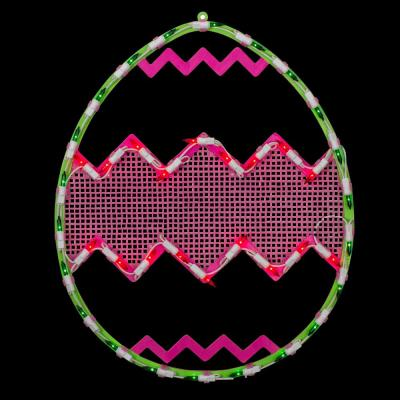 17 in. Lighted Green with Pink Chevron Stripe Easter Egg Window Silhouette