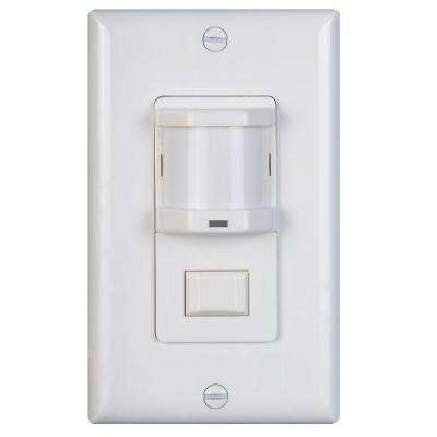 500-Watt Occupancy Motion Sensor with Passive Infrared Switch Light - White