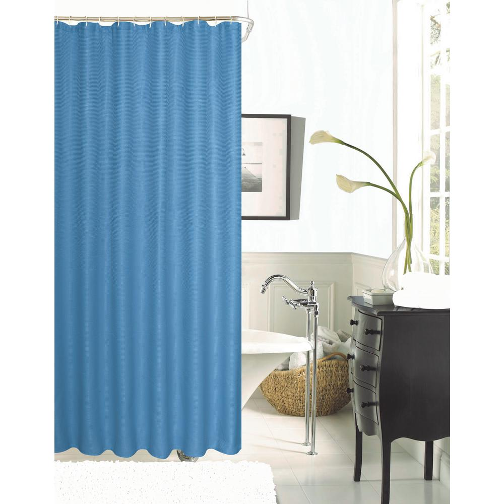 Hotel Collection Spa 251 Waffle 72 in. River Blue Shower Curtain