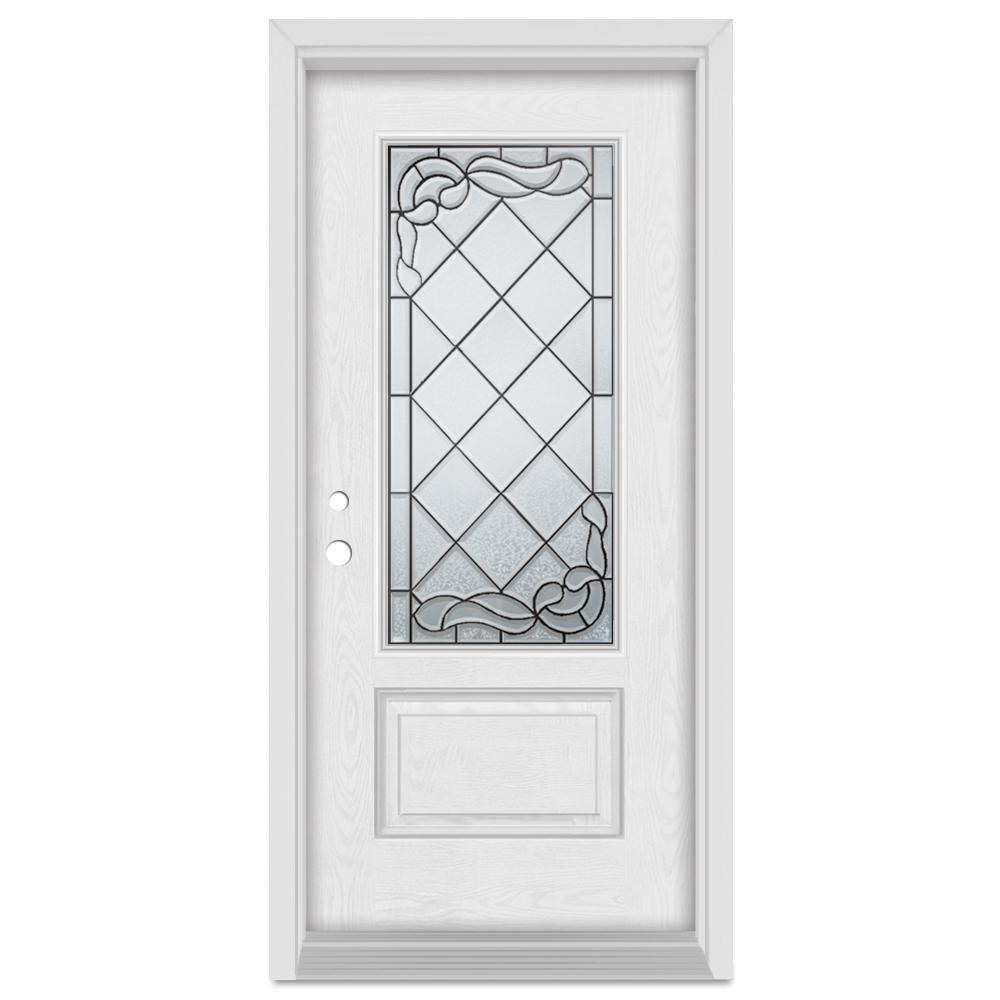 Stanley Doors 37.375 in. x 83 in. Art Deco Right-Hand Inswing 3/4 Lite Patina Finished Fiberglass Oak Woodgrain Prehung Front Door