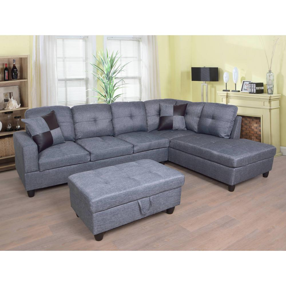 Star Home Living Gray Right Chaise Sectional With Storage