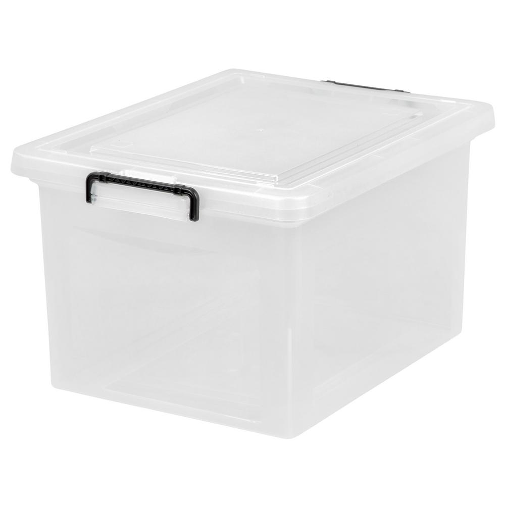 IRIS 56 Qt. Letter Size Wing Lid File Storage Box In Clear