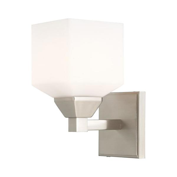 Aragon 4.75 in. Brushed Nickel Sconce with Hand Blown Satin Opal White Glass