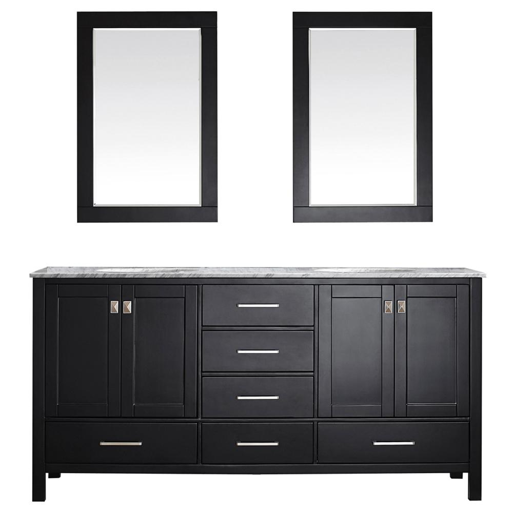 ROSWELL Gela 72 in. W x 22 in. D x 35 in. H Vanity in Espresso with Marble Vanity Top in White with Basin and Mirror