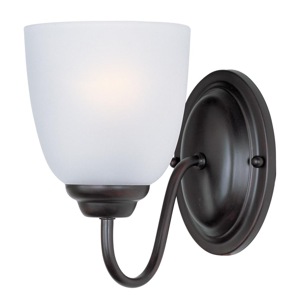 Stefan 1-Light Oil Rubbed Bronze Sconce with Frosted Shade