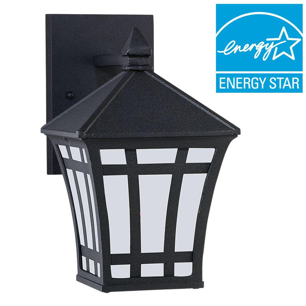 Sea Gull Lighting Herrington 1-Light Black Outdoor Wall Mount Fixture