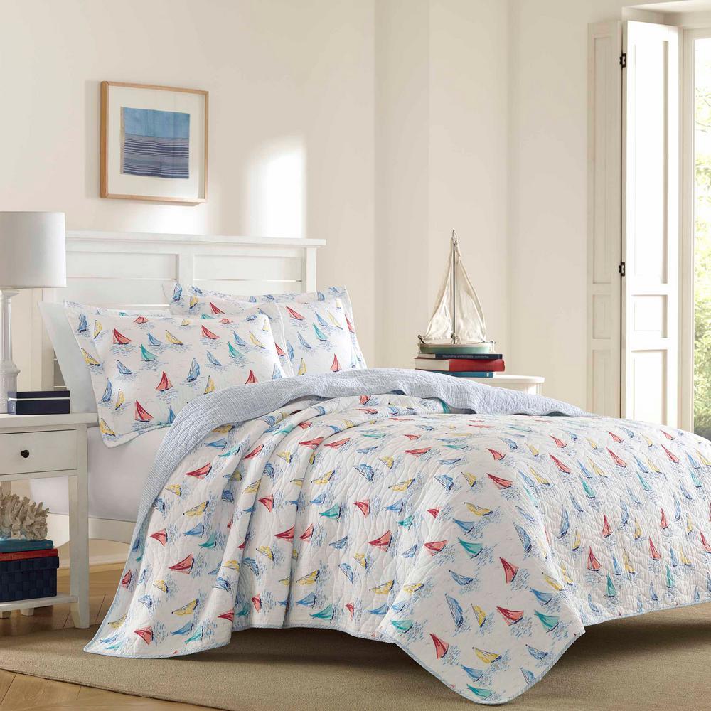 Laura Ashley Ahoy 3-Piece Blue King Quilt Set 222270