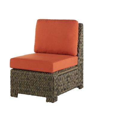 Laguna Point All-Weather Wicker Outdoor Sectional Middle Chair With Quarry Red Cushions