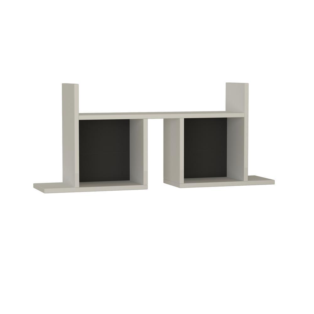 Ada Home Decor Waldo White and Anthracite Modern Wall Shelf DCRW2301