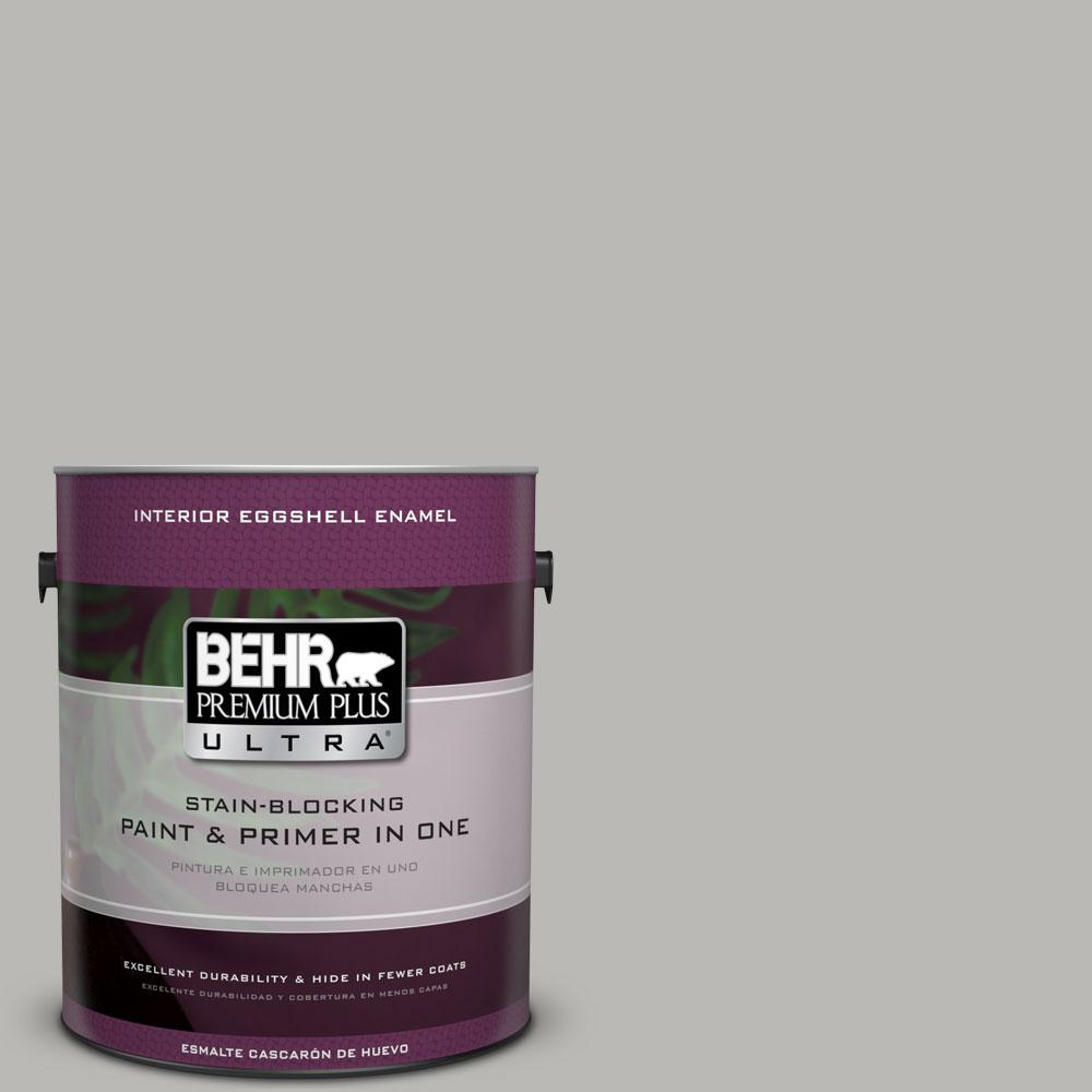 BEHR Premium Plus Ultra 1 gal. #PPU18-11 Classic Silver Eggshell Enamel Interior Paint and Primer in One