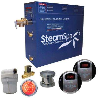 Royal 9kW QuickStart Steam Bath Generator Package with Built-In Auto Drain in Brushed Nickel