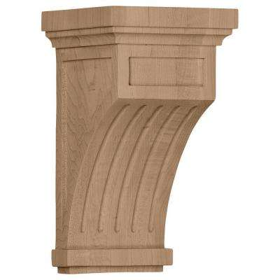 5-1/2 in. x 5-1/2 in. x 10 in. Rubberwood Fluted Corbel