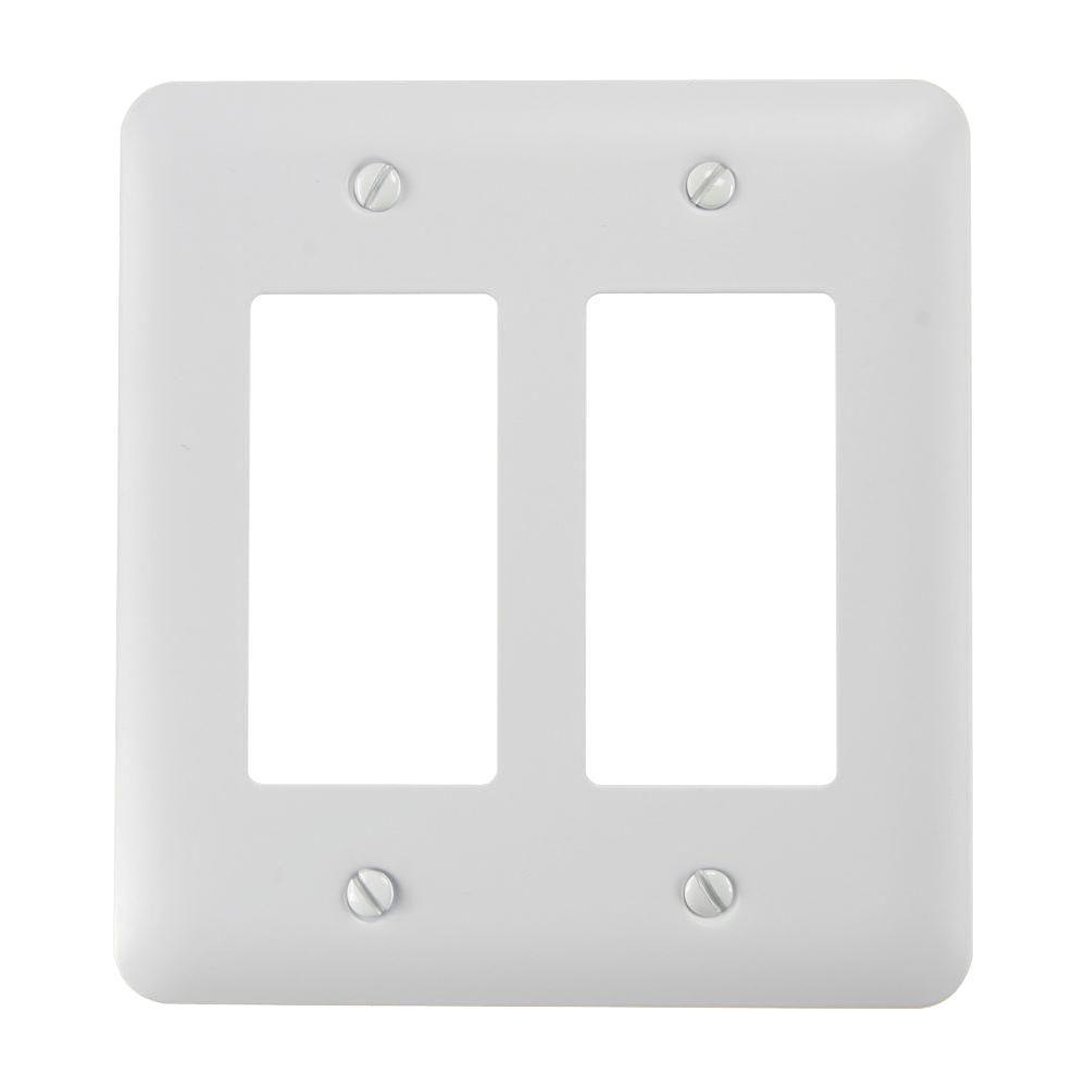 Declan 2 Rocker Wall Plate - White Steel
