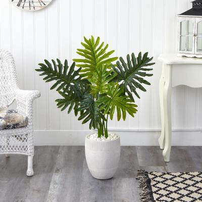 40in. Philodendron Artificial Plant in White Planter (Real Touch)