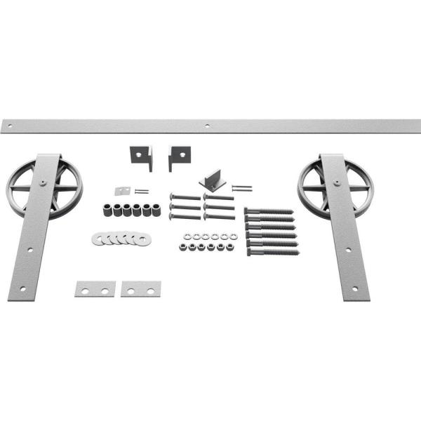 Goldberg Brothers Inc 1 5 8 In X 48 In X 13 5 8 In Steel Premium Wagon Wheel Strap Barn Door Hardware Set Moulding Pc Chrome Gb600154hwcr The Home Depot